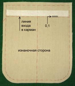 Пошив закругленного кармана «гармошка»