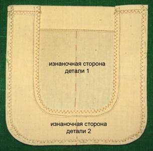 приметать нижнюю обтачку по контуру кармана