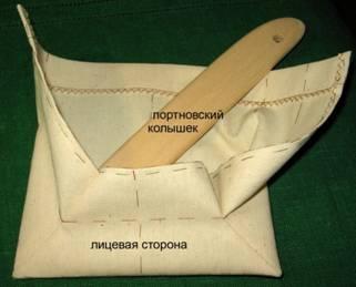 уголки кармана выправить с помощью портновского колышка