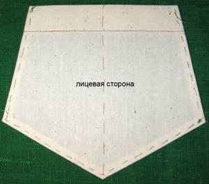 накладной пятиугольный карман пошив