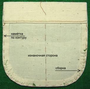 Пошив кармана с закругленными уголками