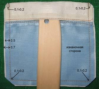 Подрезать припуски на уголках кармана