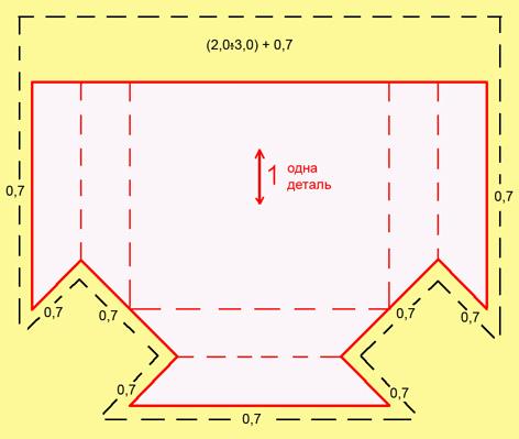 раскладка прямоугольного кармана гармошка