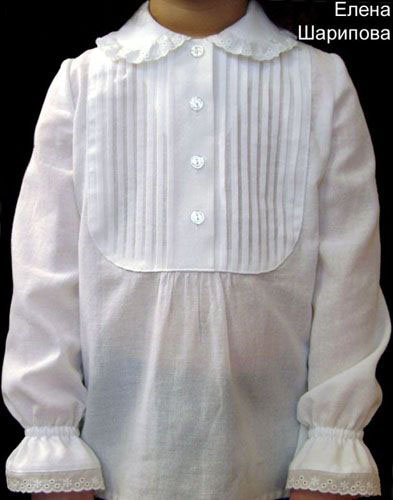 Blouse with small pleats for girls