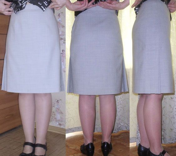 Skirt with one-side fan pleats